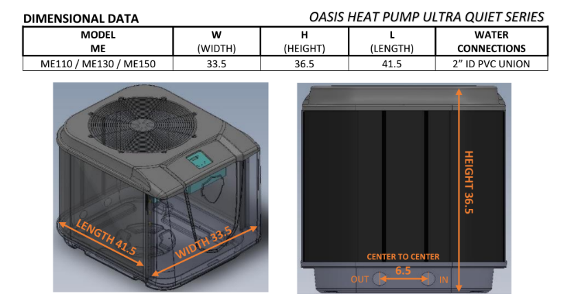 Oasis Platinum Ultra Quiet Pool Heat Pumps Pool Heater