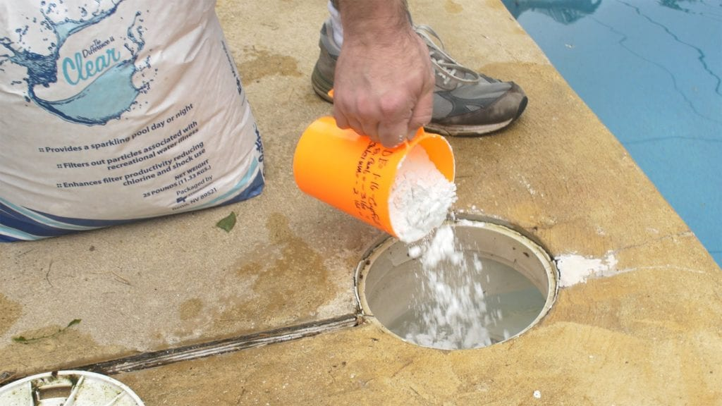 add de powder to sand filter to improve sand pool filtration