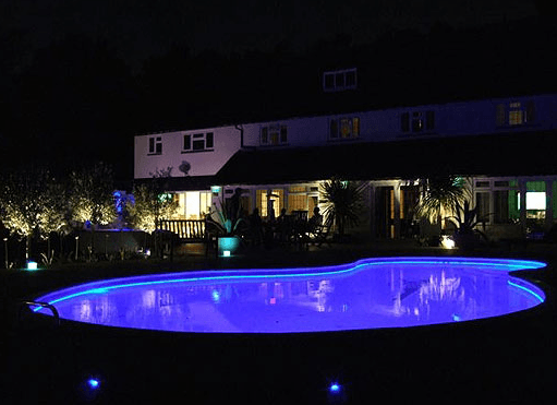 led lights in pool pool landscaping idea