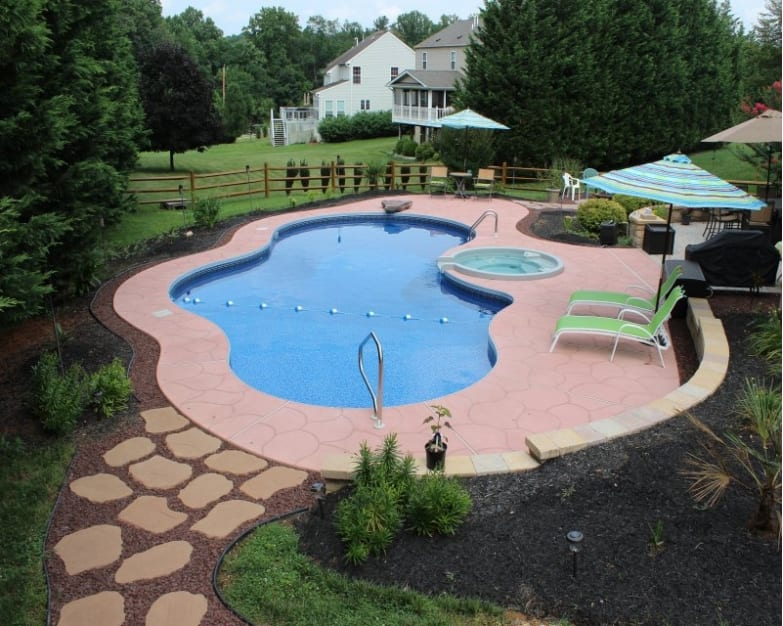 stone walkway for pool pool landscaping ideas